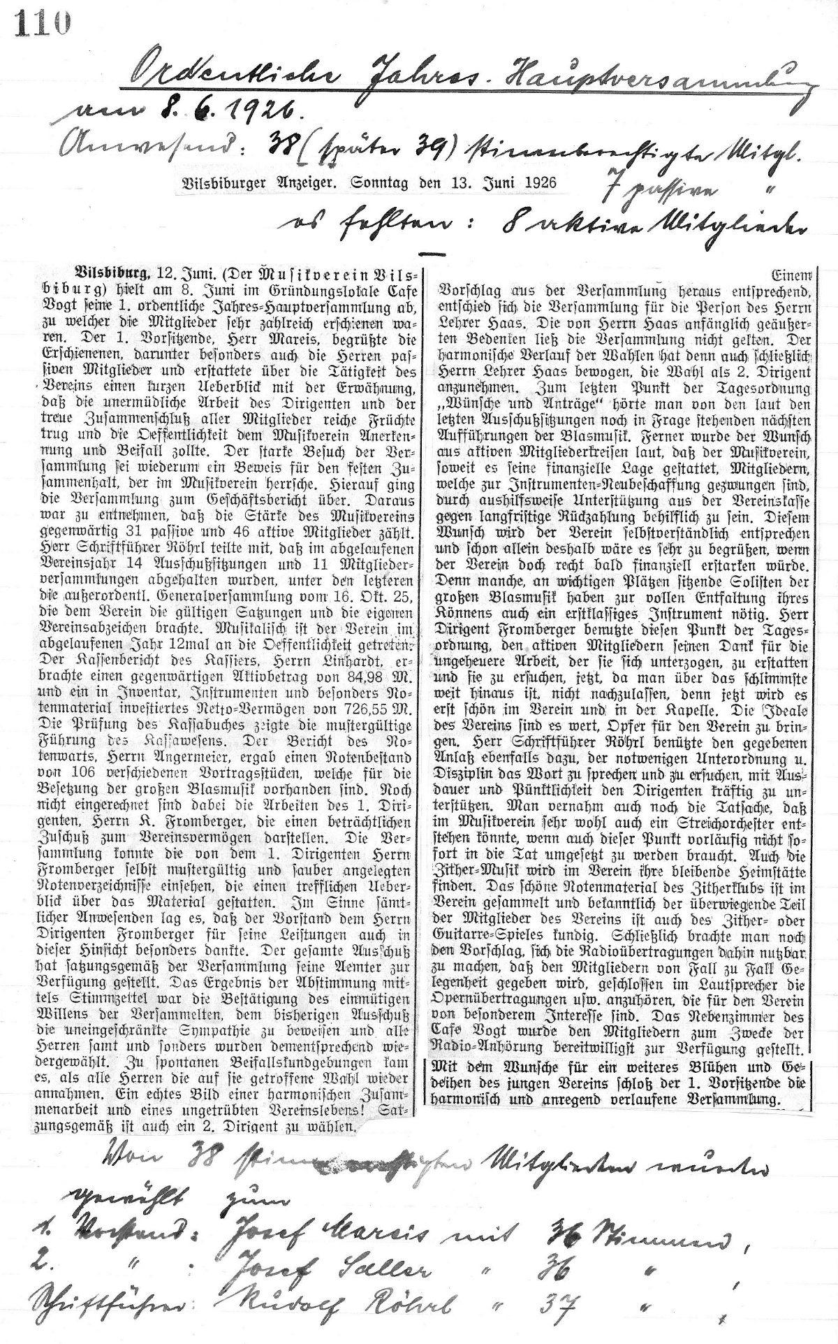 1926-06-13_Zeitungsbericht / Protokoll der Jahres-Generalversammlung ...